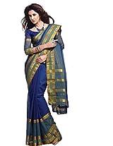 Fabulous Blue Wedding Wear Saree Zari Work Cotton Sari