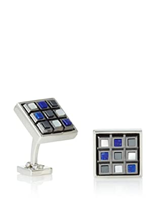 Ike Behar Checkerboard Sodalite/Hematite/Mother of Pearl Cufflinks