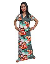 Indiatrendzs Women's Hosiery Cotton Nighty Multicolor Floral Print Nightgown Maxi