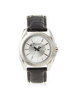 Rudiger Men's R1001-04-001L Dresden Black Leather Silver Dial Watch