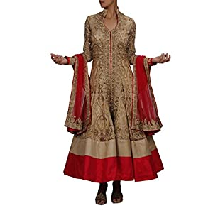 Modish beige and red combination heavy embroidered designer anarkali suit set. By Roopkala