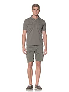 Fresh Men's Short Sleeve Polo with Front Pockets (Olive)
