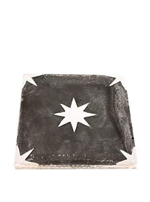 Portuguese White Star Tile Trivet, Black/White