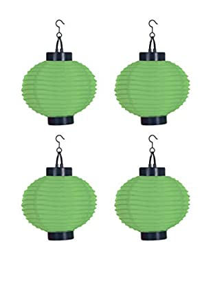 Pure Garden Set of 4 LED Outdoor Solar Chinese Lanterns, Green