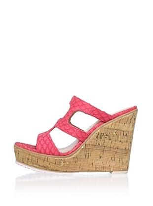 Lisa by Donald J Pliner Women's Kloe Cut Out Slide Wedge Sandal (Coral/Gold/Natural)