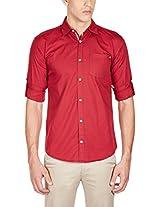 GHPC Men's 100% Cotton Casual Shirt(CS62503_38_Maroon)