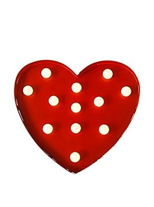 CALIFORNIA SURF Panel Decorativo Luminoso LED Heart Rojo