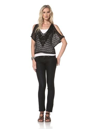 Leyendecker Women's Bastille V-Neck Crochet Top (Black)