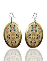 Optionsz Floral Theme Round Shape Golden Color Elegant Hanging Dangle Earring , OPTERJPAZ226