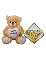 Happy Birthday Teddy With Sandwich Greeting Card
