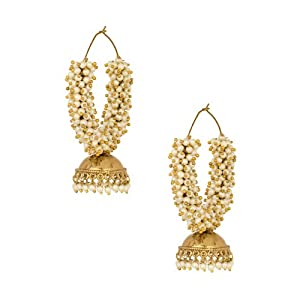 Voylla Big Studded With Pearl Beads Hoop Earring for Women