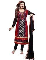 Manvaa stuning red and black georgette salwar kameez with black chiffon dupatta