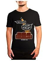 Bushirt Men's Round Neck Cotton T-Shirt (DN00097- Sheldon Spot_Black_XX-Large)