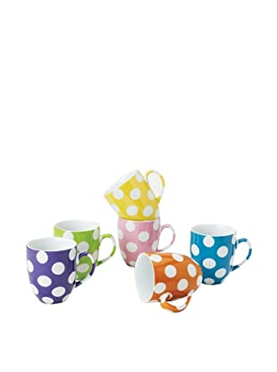 Classic Coffee & Tea Set of 6 White Dots Mugs, Assorted, 9-Oz.