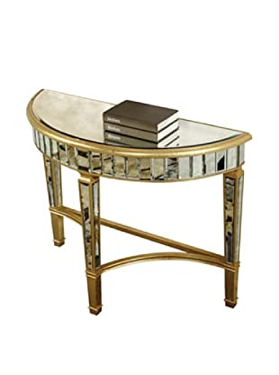 Florentine Half Moon Table, Gold Leaf/Antique Mirror