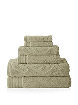 Luxury Home 6-Piece Medallion Swirl Egyptian Cotton Towel Set, Taupe