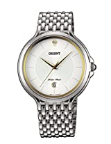 Orient Men White Dial Silver Metal Strap Round Shape, Made in Japan