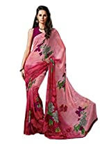 Pink Color Georgette Printed Saree with Blouse 7027