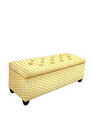 MJL Furniture Sole Secret Large Upholstered Shoe Storage Bench, Yellow/White