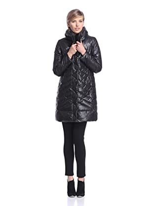 French Connection Women's Double-Collar Down Puffer (Black)