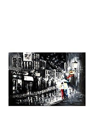 Legendarte Pintura al Óleo sobre Linezo Innamorati Sotto La Pioggia 60X90