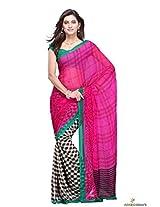 Chiffon Printed Saree In Magenta Colour