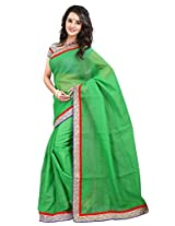 7 Colors Lifestyle Green Coloured Super Net Embroidered Saree