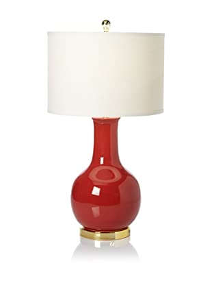 Safavieh Ceramic Table Lamp (Gold Neck And Base With Red, White Shade)