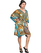 Exotic India Floral Printed Short Kaftan with Dori at Waist - Color Blue And OliveGarment Size Free Size