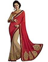 Indian Women Graceful Georgette Red Saree with Blouse