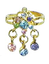 DollsofIndia Blue and Pink Stone Studdd Adjustable Ring - Stone and Metal - Multicolor