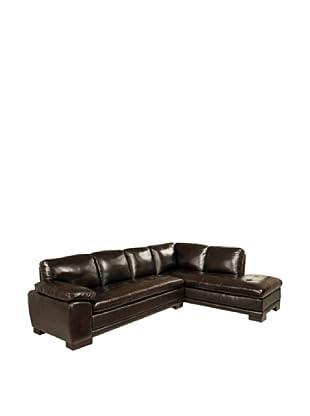 Abbyson Living Tekana Premium Italian Leather Sectional Sofa, Dark Brown