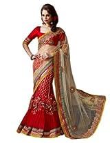 Triveni Glamorous See-Through Bridal Lehenga Saree 2026