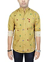AA' Southbay Men's Beige Khaki Flag Printed Mandarin Collar Long Sleeve Party Casual Shirt