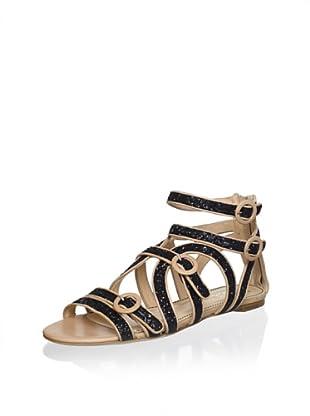 Jerome C. Rousseau Women's Muscat Flat Sandal (Black)