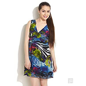 Abstract Floral Print Dress-Multi Colour-XS