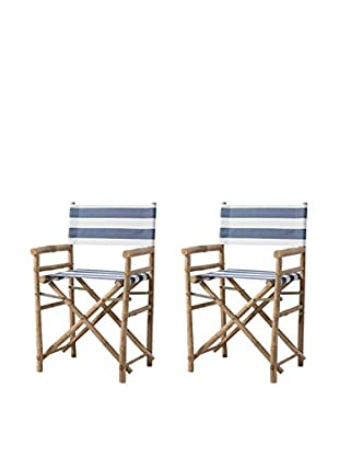 ZEW, Inc. Set of 2 Bamboo Director Chairs, Navy/White Stripes