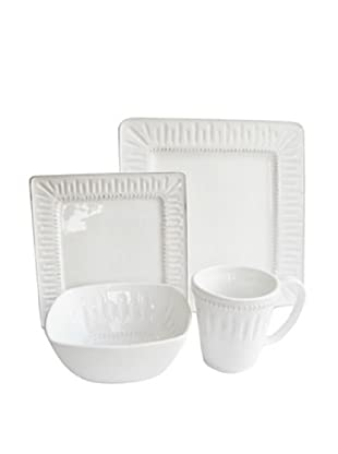 Jay Imports Kenzie Square 16-Piece Dinnerware Set, White