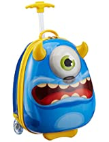 Sunbaby Monster Design Synthetic 41 cms Blue Children's Luggage (SB-1018_Blue)