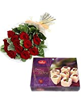 12 Red Roses Bunch With 500 Gms HaldiramS Soan Papdi