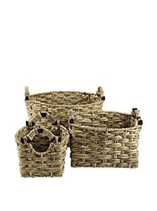 My Spirit Garden Set of 3 Water Hyacinth Giuliana Baskets, Golden Wheat