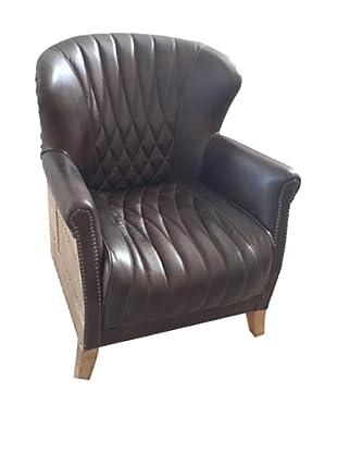 Mélange Home Newcastle Leather Armchair, Light Java Black