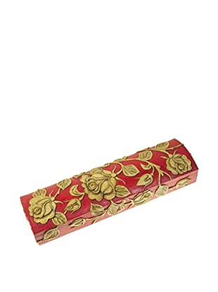 The Niger Bend Large Dome-Top Soapstone Pen, Pencil or Chopstick Box with Rose Design