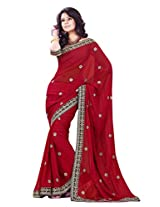 Sourbh Saree Red Faux Georgette Must Have Best Sarees for Women Party Wear, Special Karwa Chauth Gifts for Wife, Women Clothing Collection
