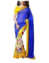 Rajlaxmi Women's Chiffon Saree (Yellow and Blue)