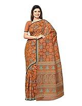 Fabdeal Brown Cotton Printed Saree Sari Sarees-VISSR1015MR
