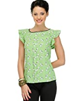 Green Polyester Crepe Top