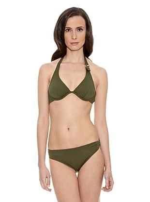 Cortefiel Bikini 25 Halter Extraibl Aro (Verde)