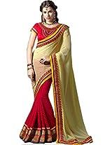 SareeStudio-Indian Cream Red Wedding Wear Embroidery Work Georgette Sari