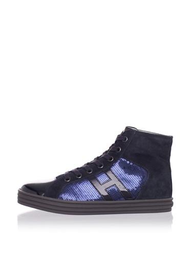 Hogan Kid's Sequin Hi-Top Sneaker (Blue/Grey)